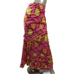 Plus Size Pink Ruffled African Trumpet Wrap Skirt ONE SIZE Cotton